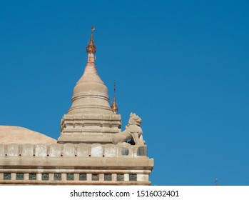 Exterior of Ananda temple in Bagan, Myanmar, Chinthe and small stupa. Beautiful and elegant building with well preserved.