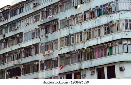 Exterior façade of apartment buildings in Hong Kong, China