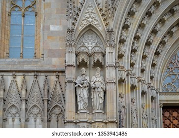 Exterior architectural details from Barcelona Cathedral - The Cathedral of the Holy Cross and Saint Eulalia