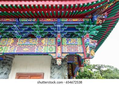 Exterior of Art at The Big Buddha and Po Lin Monastery lantau island Hong Kong.