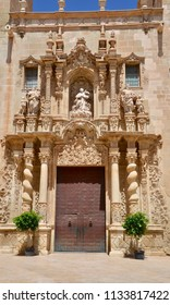 Exterior of the Basilica of Santa Maria, the oldest church in Alicante city, Costa Brava, Spain Europe. July 2018