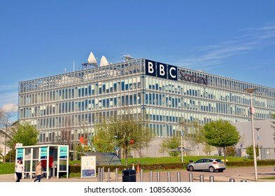 Exterior of the BBC Scotland television and radio studio at Pacific Quay. Headquarters of the BBC in Scotland.  River Clyde, Glasgow Scotland UK. may 2018