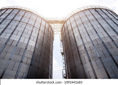 exterior of big silo technology in sun beam light in agriculture life.
