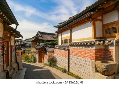 Exterior brick wall of tradition korean style house at Bukchon hanok village   Location Seoul South Korea  date 16/4/2019