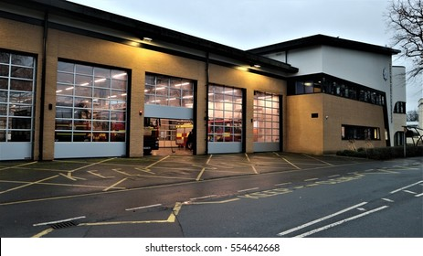 Exterior of a British modern firestation with fire engines