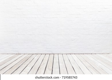 Exterior brown wooden decking floor and white brick wall. Abstract decoration wall texture and background. For wallpaper design and backdrop