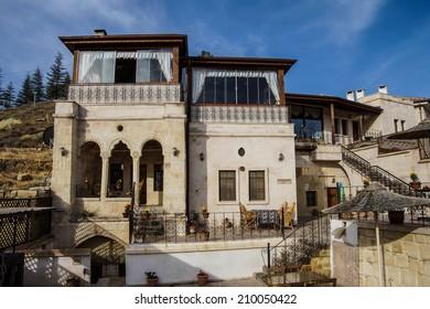 Exterior of cave hotel  Akyol Hotel,  Mustafapasa, Cappadocia in Turkey