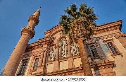 Exterior of Cinarli Mosque of Ayvalik, Balikesir, Turkey. The mosque was converted from Greek Orthodox church to a Muslim mosque in 1923