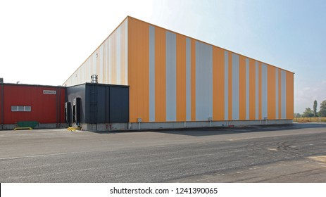 Exterior of Colorful Distribution Center  Warehouse Building