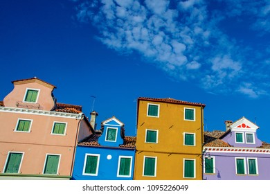 Exterior of colorful houses of Burano Island
