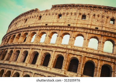 Exterior of the Colosseum or Coliseum, also known as the Flavian Amphitheatre, vintage toned photo with instagram old style effect