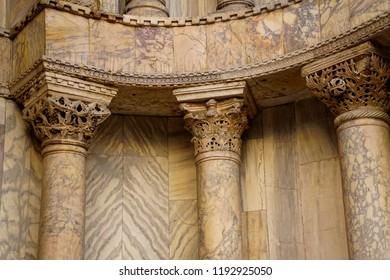 Exterior columns on San Marco, Venice, Italy