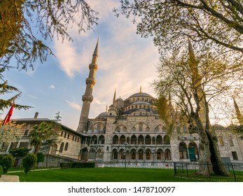 Exterior day shot of Sultan Ahmed Mosque, also known as Blue Mosque, an Ottoman imperial mosque located in Sultan Ahmed Square, Istanbul, Turkey