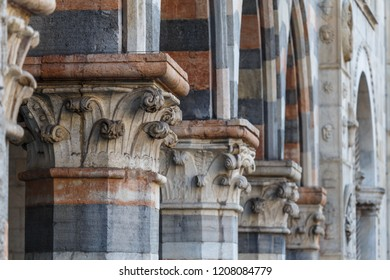 Exterior decoration of Como Cathedral church, Italy