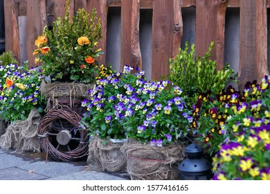 Exterior decoration with pansies, sackcloth and woode fence