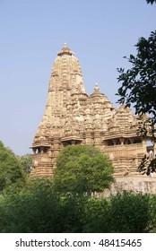 Exterior decorations of the  Kandariya Mahadeva Temple at  Khajuraho in  India, Asia