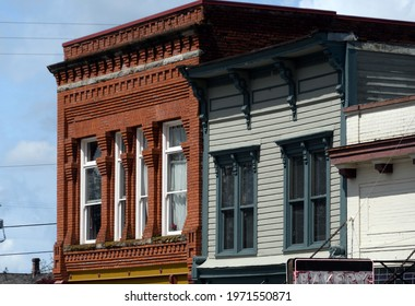 Exterior details of old brick building in historical district of Snohomish, Washington state
