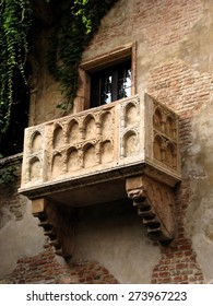 Exterior details of Romeo and Juliets balcony on side of historic house, Verona, Veneto, Italy.