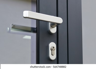 Exterior door handle and Security lock on Metal frame
