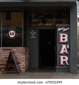 Exterior of the entrance to the Vieni Vieni Lucky Spot Bar in San Francisco, California, USA on December 1, 2014.