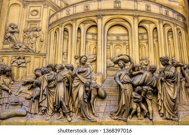 exterior facade at the baptistery paradise gate detail in florence, italy