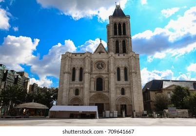 Exterior facade of the Basilica of Saint Denis, Saint-Denis, Paris, France