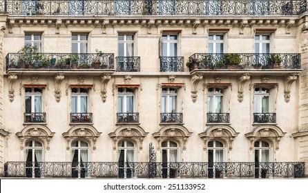 Exterior facade of a Parisian building.