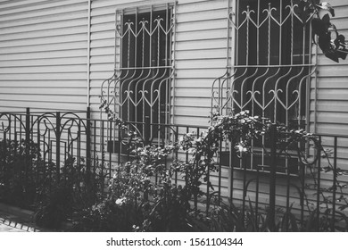 Exterior facade of a small house, windows with bars and a fence with climbing plants, tinted black and white art photo
