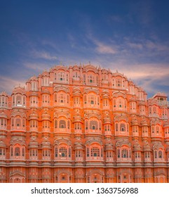 Exterior of famous ancient Hawa Mahal, Palace of Winds in Jaipur, Rajasthan state, India