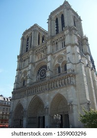 exterior of the famous Notre Dame de Paris, Gothic example of Rayonnant architecture