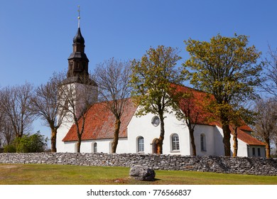 The exterior of the Faro church located in the Swedish province of Gotland.