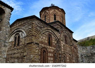 The exterior of a fire-damaged Serbian Orthodox church in Prizren, Kosovo