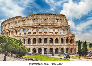 Exterior of the Flavian Amphitheatre, aka Colosseum in Rome, Italy
