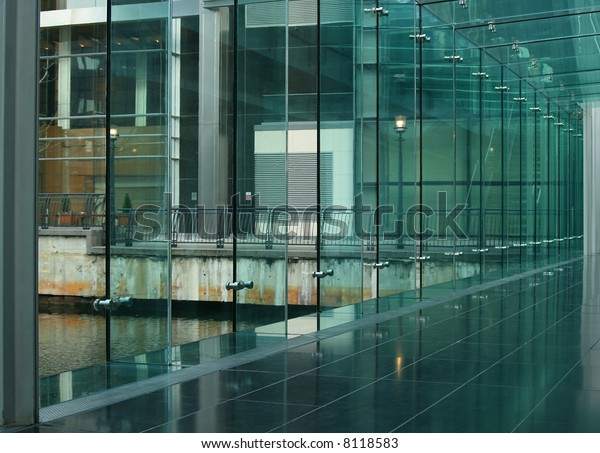 Exterior Glass Wall Inside Modern Building Stock Photo Edit Now 8118583