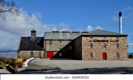 Exterior of Glenmorangie whisky distillery in Tain, ross-shire, which produces single malt whisky. Popular visitor attraction. Tain Scotland UK. April 2018