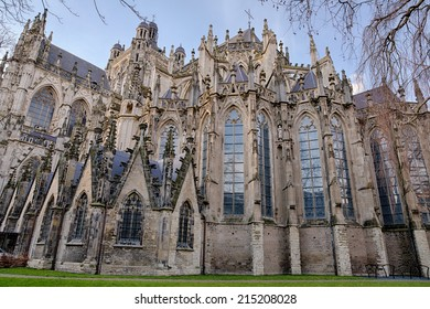 Exterior of the gothic medieval cathedral of Saint John, one of the top attractions of Den Bosch, 's-Hertogenbosch, Netherlands