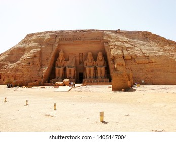 The exterior of Great Temple front side, Abu Simbel in Egyptian, in Nubia village in Egypt. The complex is part of theUNESCOWorld Heritage Siteknown as the Nubian Monuments.