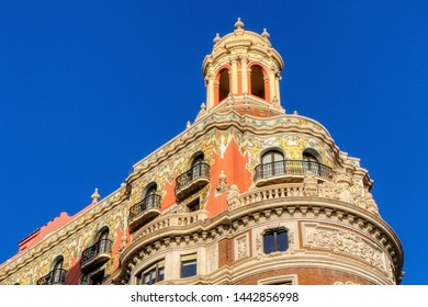 Exterior of the headquarters of the Banco de Valencia, or Bank of Valencia, in the historic city of Valencia, Spain - 03/07/2019