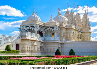 Exterior of the Hindu temple, BAPS Shri Swaminarayan Mandir, in Neasden, London
