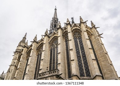 Exterior of Holy Chapel (Sainte Chapelle, 1248) in Paris, France. The Sainte Chapelle is a royal medieval Gothic chapel and one of most famous monuments of city Paris.