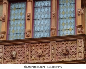 exterior of House od Heads, renaissance building in Colmar, Alsace, France