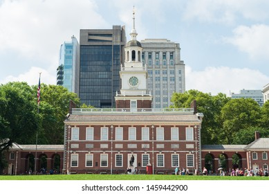 Exterior of Independence Hall in Philadelphia, Pennsylvania on July 6, 2019. Independence Hall is where the Declaration of Independence and the U.S. Constitution were signed.