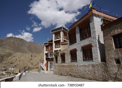 Exterior of Lamayuru gompa monastery, perched high on a mountain  ridge, Ladakh, India