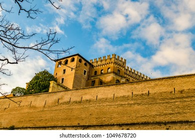 Exterior low angle view of wall and buildings of Vatican city, Rome, Italy