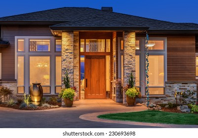 Exterior of luxury home in evening