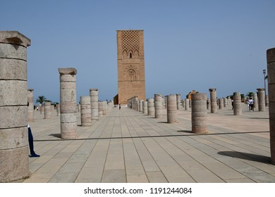 Exterior of the Mausoleum of King Mohamed V, in Rabat, Tower of Hassan, Morocco . 14 aug 2018