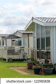 Exterior of mobile caravan homes in modern trailer park.