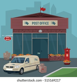 Exterior of modern post office. Near car of postal service, boxes, parcels and old red mailbox. Flat cartoon style. Express delivery mail concept. Cartoon style. Raster version of illustration