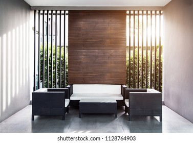 exterior modern seat at club corner with sunlight in architecture background concept