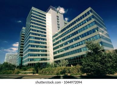 Exterior of a modern skyscraper, office building